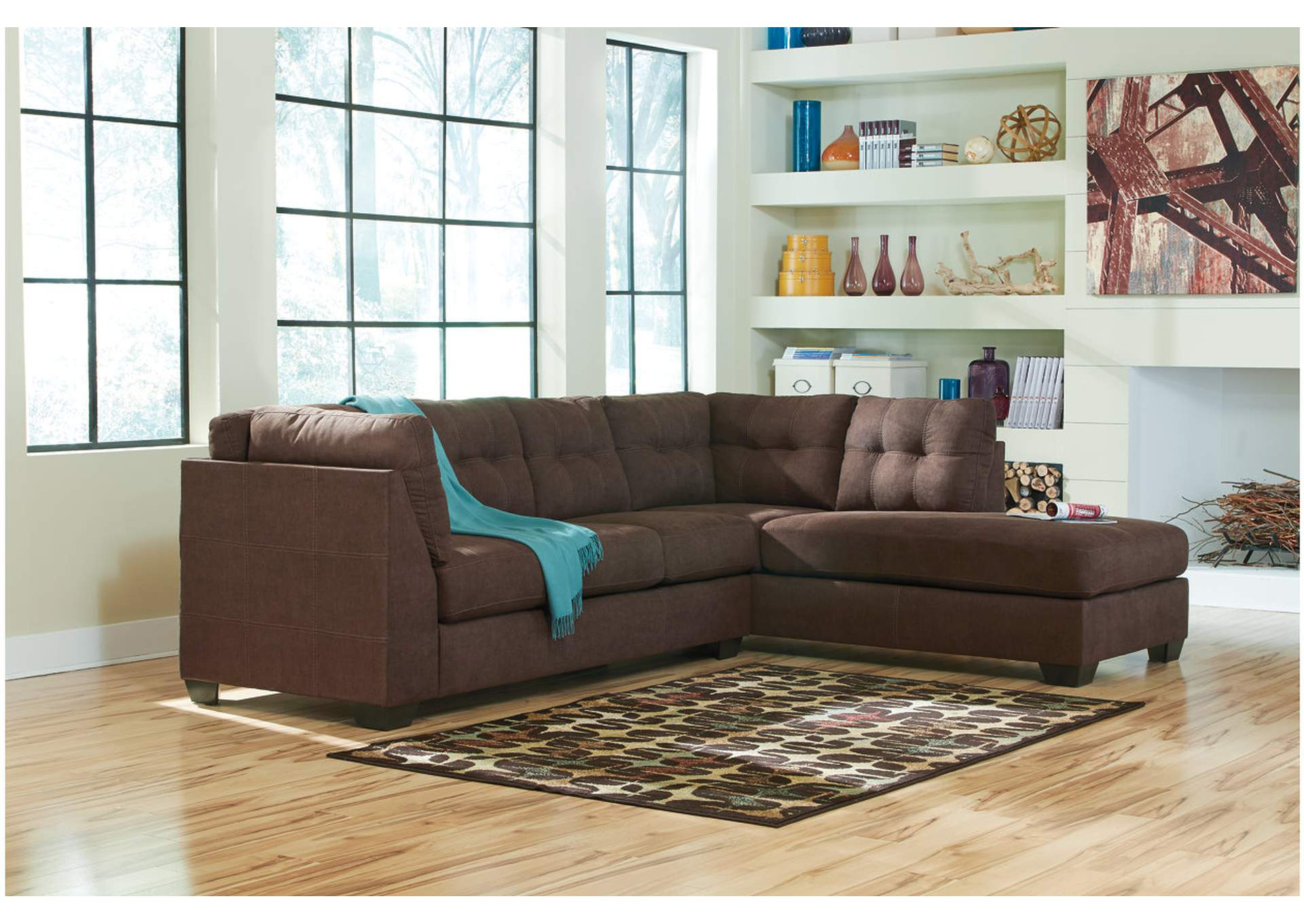 Maier Walnut Right Arm Facing Chaise End Sectional,Benchcraft
