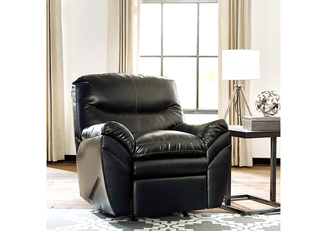 Really Feel Comfy With Black Living Room Furniture Tassler DuraBlend Black Rocker Recliner,Signature Design By Ashley