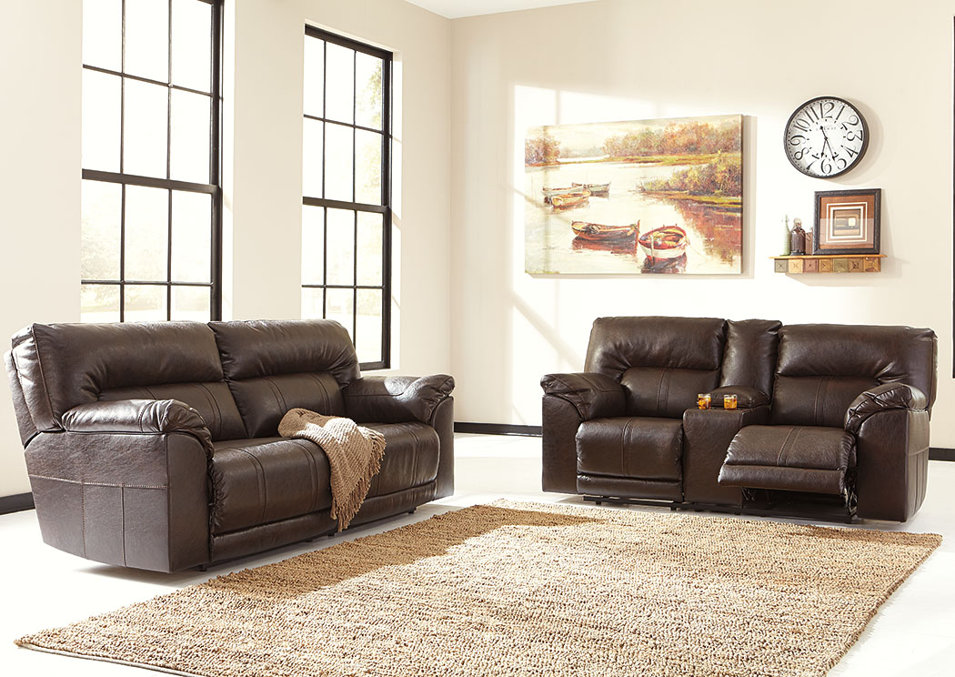 Barrettsville DuraBlend® Chocolate 2 Seat Reclining Power Sofa & Loveseat,Benchcraft