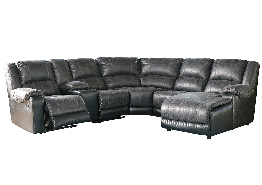 Nantahala Slate Right Facing Corner Chaise Sectional w/Storage Console,Signature Design By Ashley