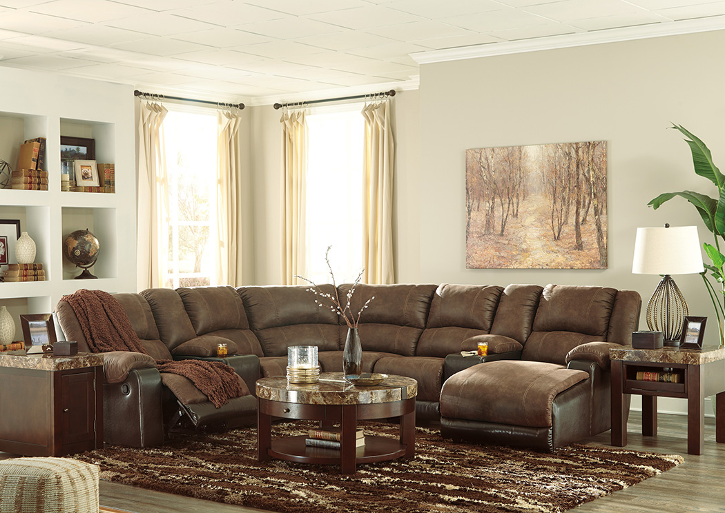 Nantahala Coffee Right Facing Corner Chaise Sectional w/2 Storage Consoles,Signature Design By Ashley