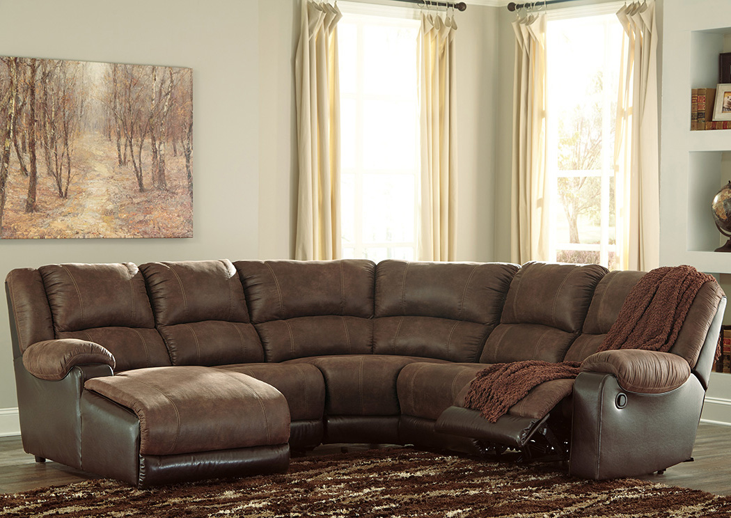 Nantahala Coffee Left Facing Corner Chaise Sectional,Signature Design By Ashley