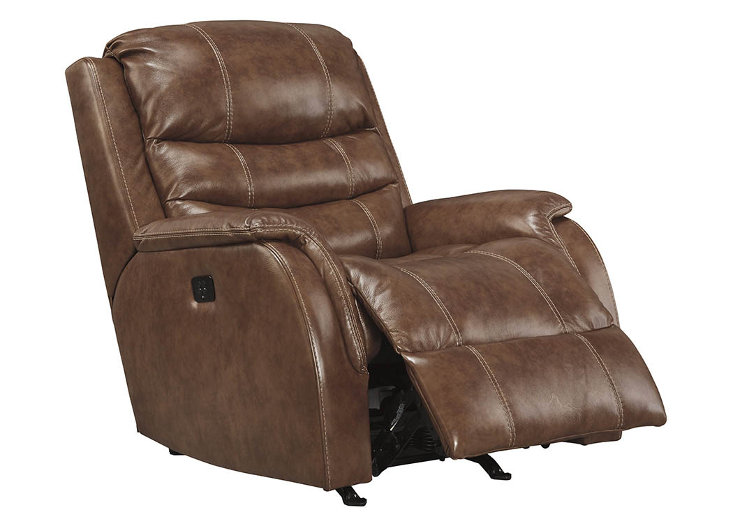 Metcalf Nutmeg Power Rocker Recliner w/Adjustable Headrest,Signature Design By Ashley