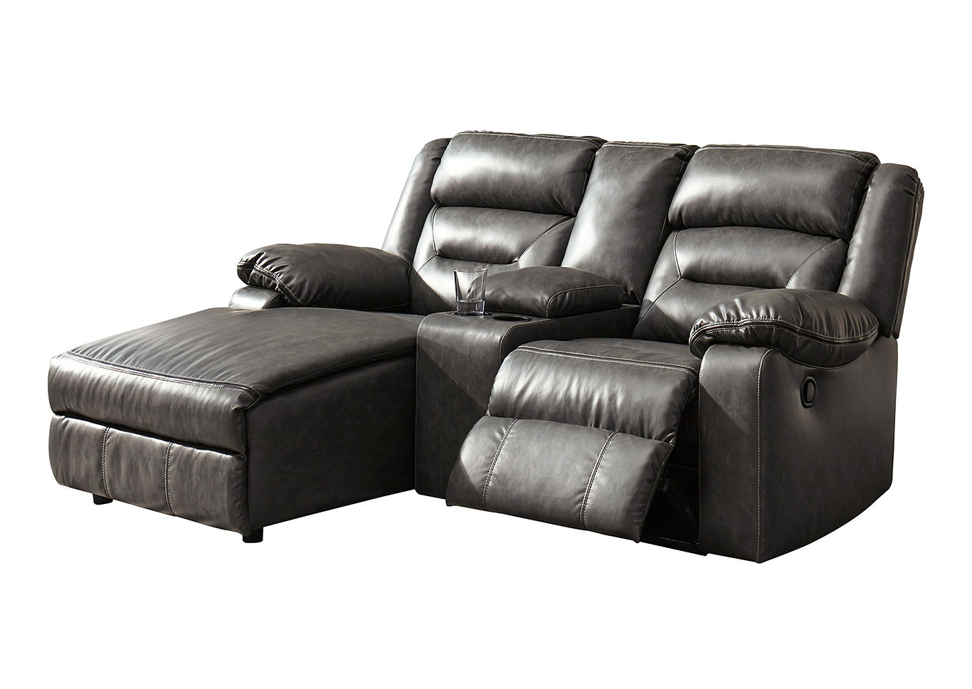 Coahoma dark gray 3 piece laf chaise sectional w console power reclinersignature