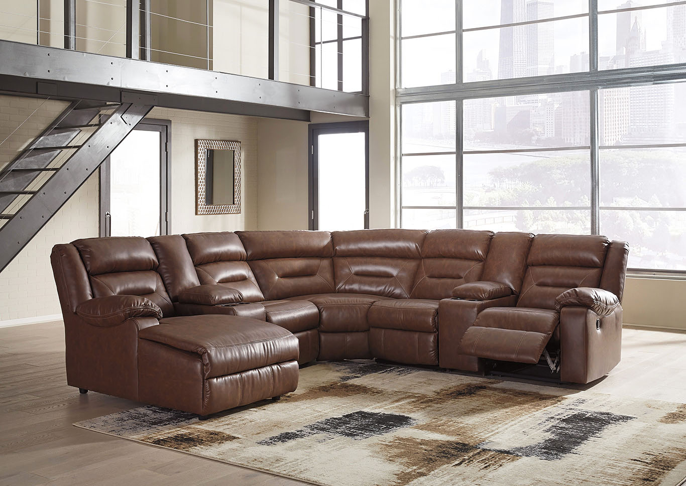 Coahoma Chestnut PU Leather 7 Piece LAF Chaise Sectional w/Consoles,Signature Design By Ashley