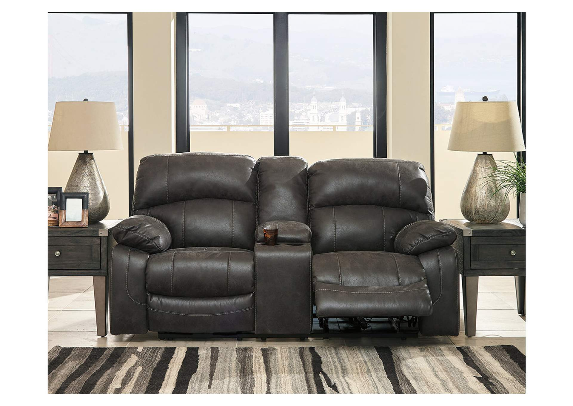 Dunwell Steel Power Reclining Loveseat w/Console and Adjustable Headrest,Signature Design By Ashley