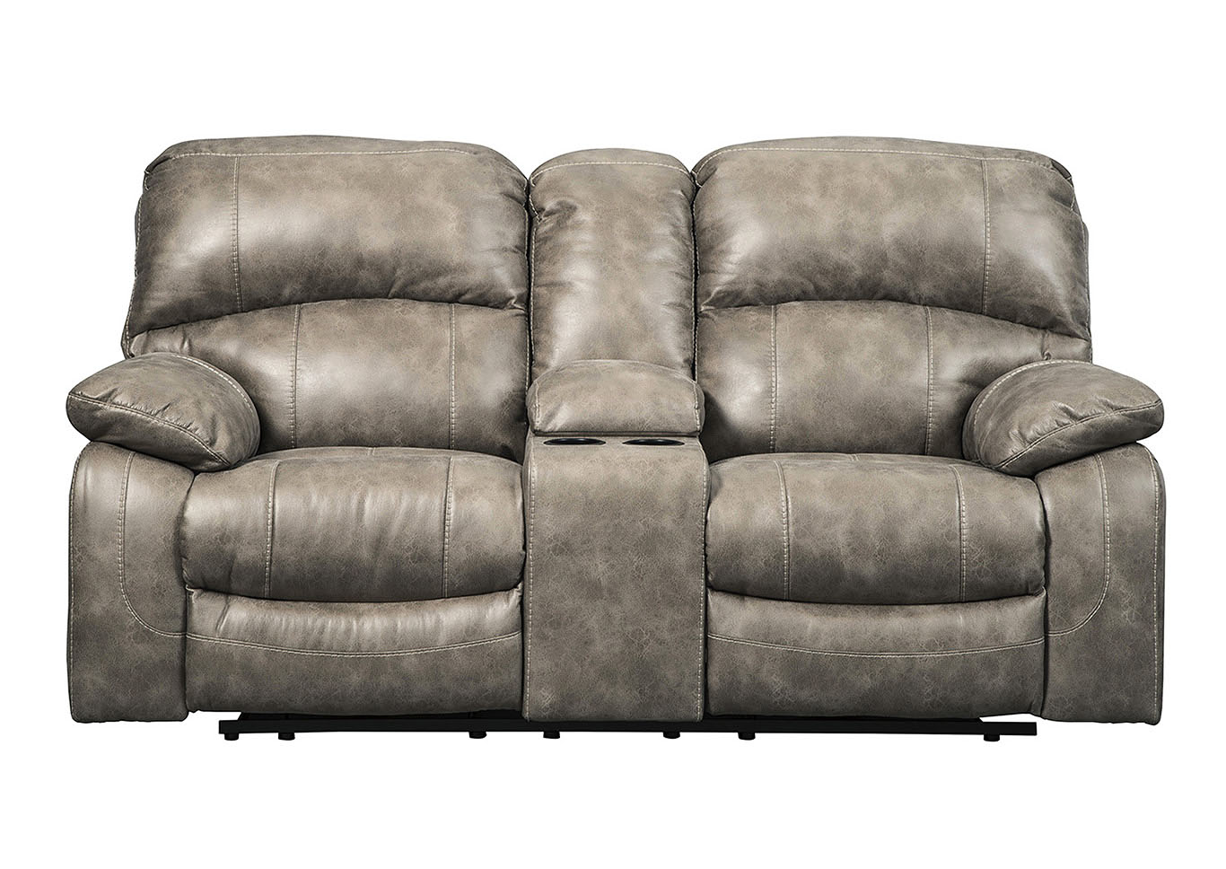 Dunwell Driftwood Power Recliner Loveseat w/Console and Adjustable Headrest,Signature Design By Ashley