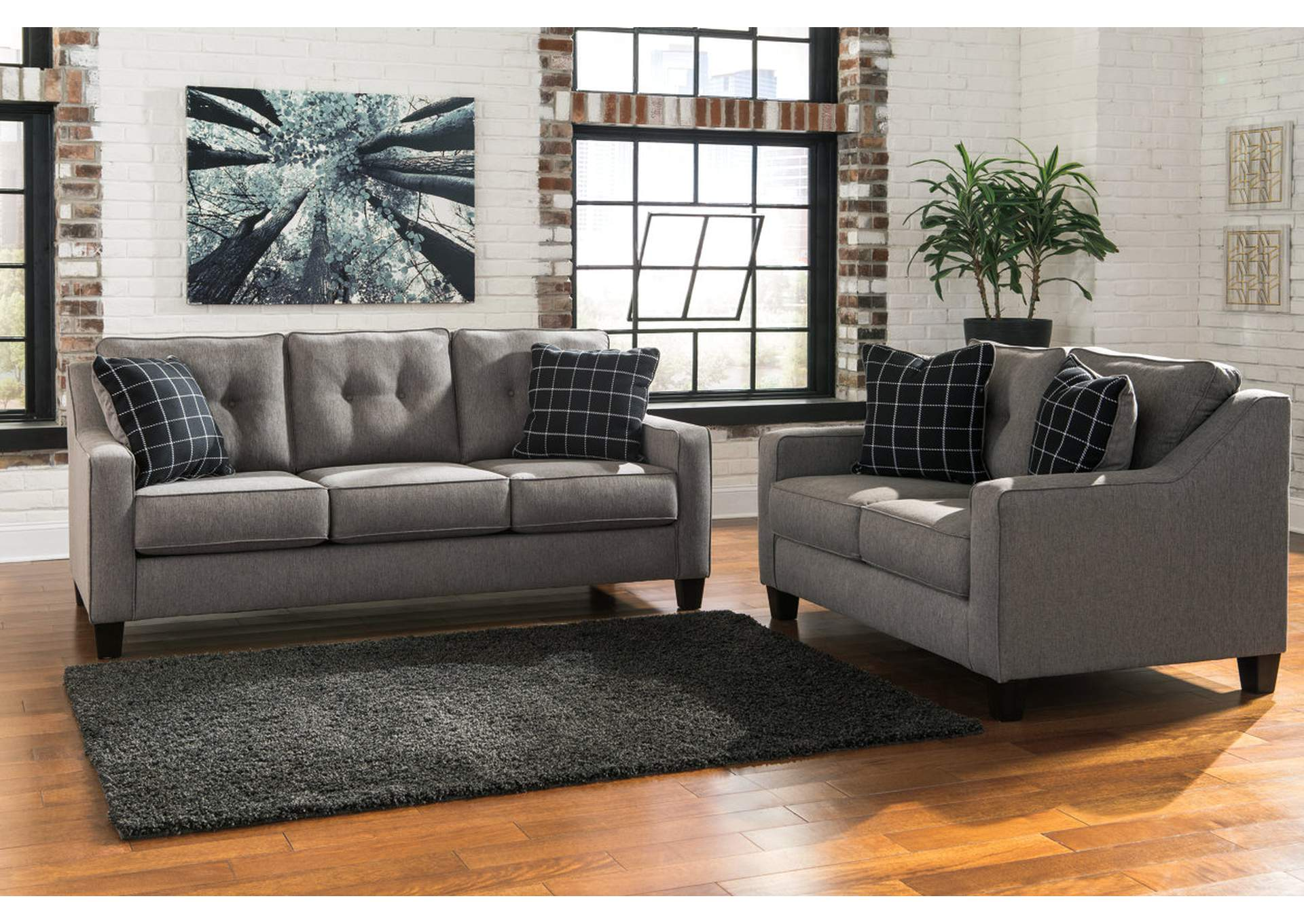 Brindon Charcoal Sofa and Loveseat,Benchcraft