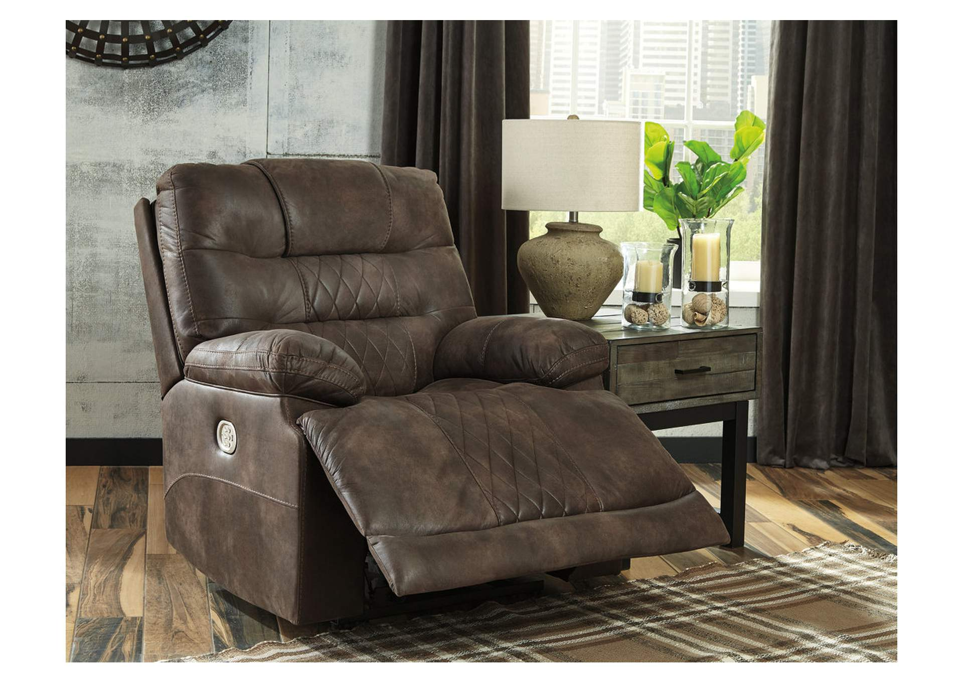 Welsford Walnut Power Recliner w/Adjustable Headrest,Signature Design By Ashley