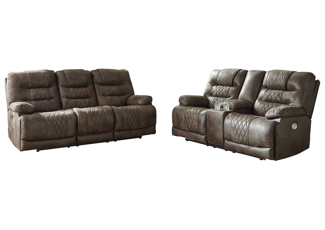 Welsford Walnut Power Reclining Sofa & Loveseat w/Adjustable Headrest,Signature Design By Ashley