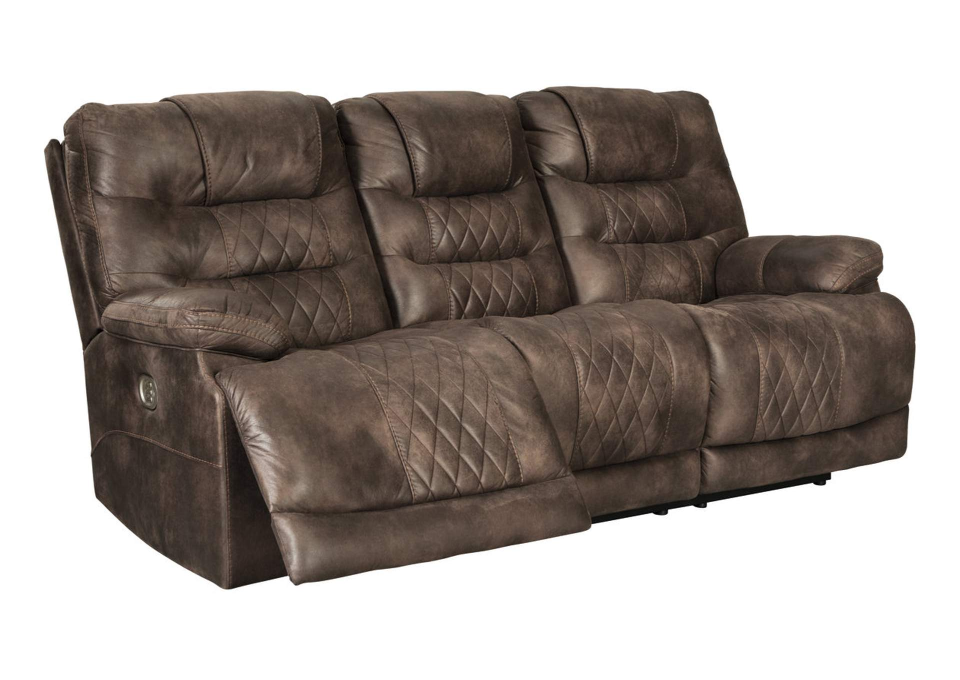 Welsford Walnut Power Reclining Sofa w/Adjustable Headrest,Signature Design By Ashley