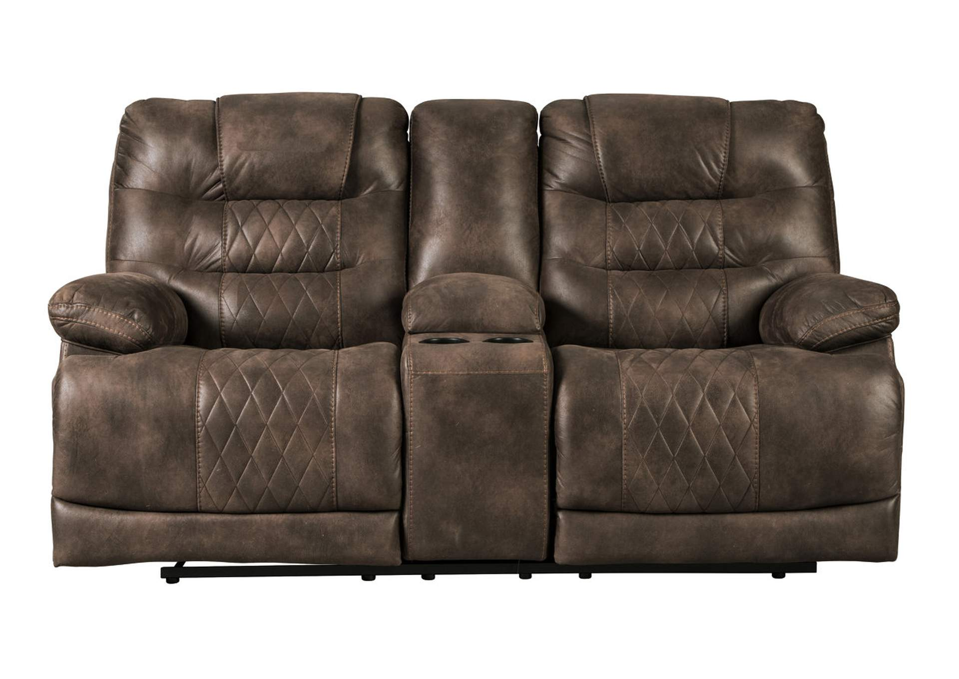 Welsford Walnut Power Reclining Loveseat w/Console & Adjustable Headrest,Signature Design By Ashley
