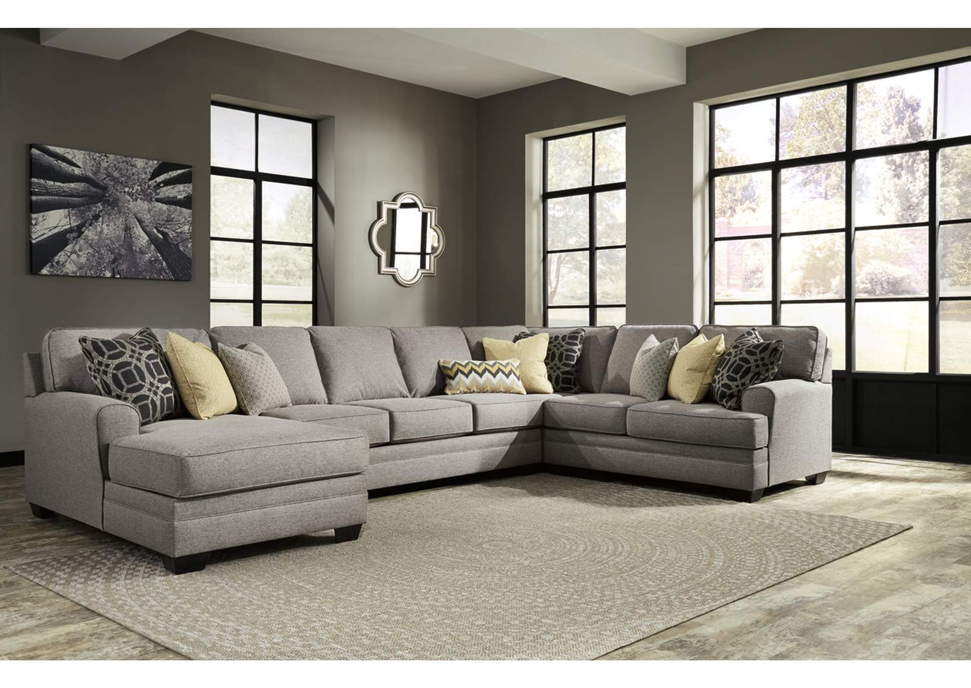 Cresson Pewter Left Facing Corner Chaise Sofa Sectional,Benchcraft