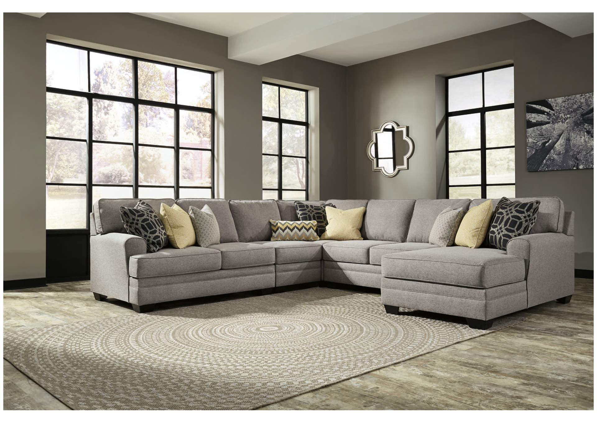 Cresson Pewter 5 Piece RAF Chaise Sectional,Benchcraft