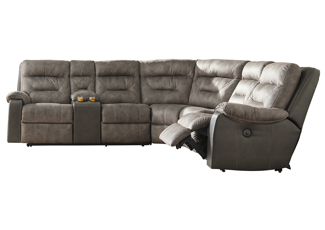 Hacklesbury Brownstone Left Facing Power Reclining Sectional,Benchcraft