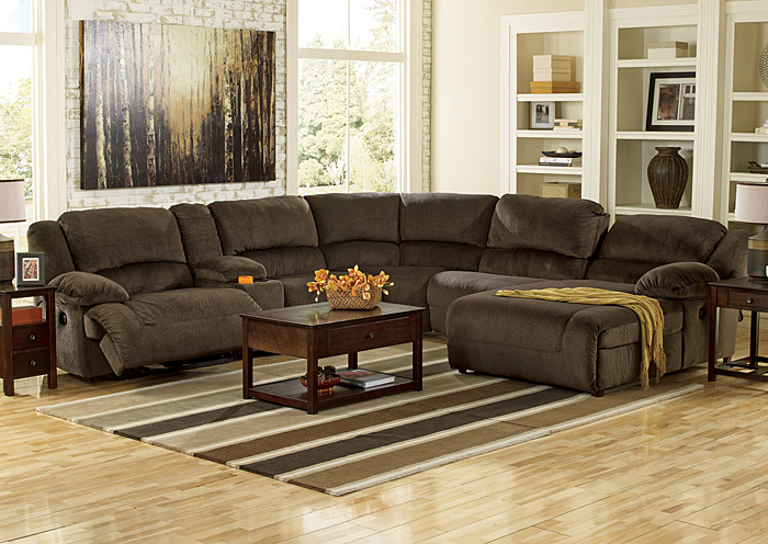 Merveilleux Toletta Chocolate Right Facing Chaise End Power Reclining Sectional  W/Storage Console,Signature Design