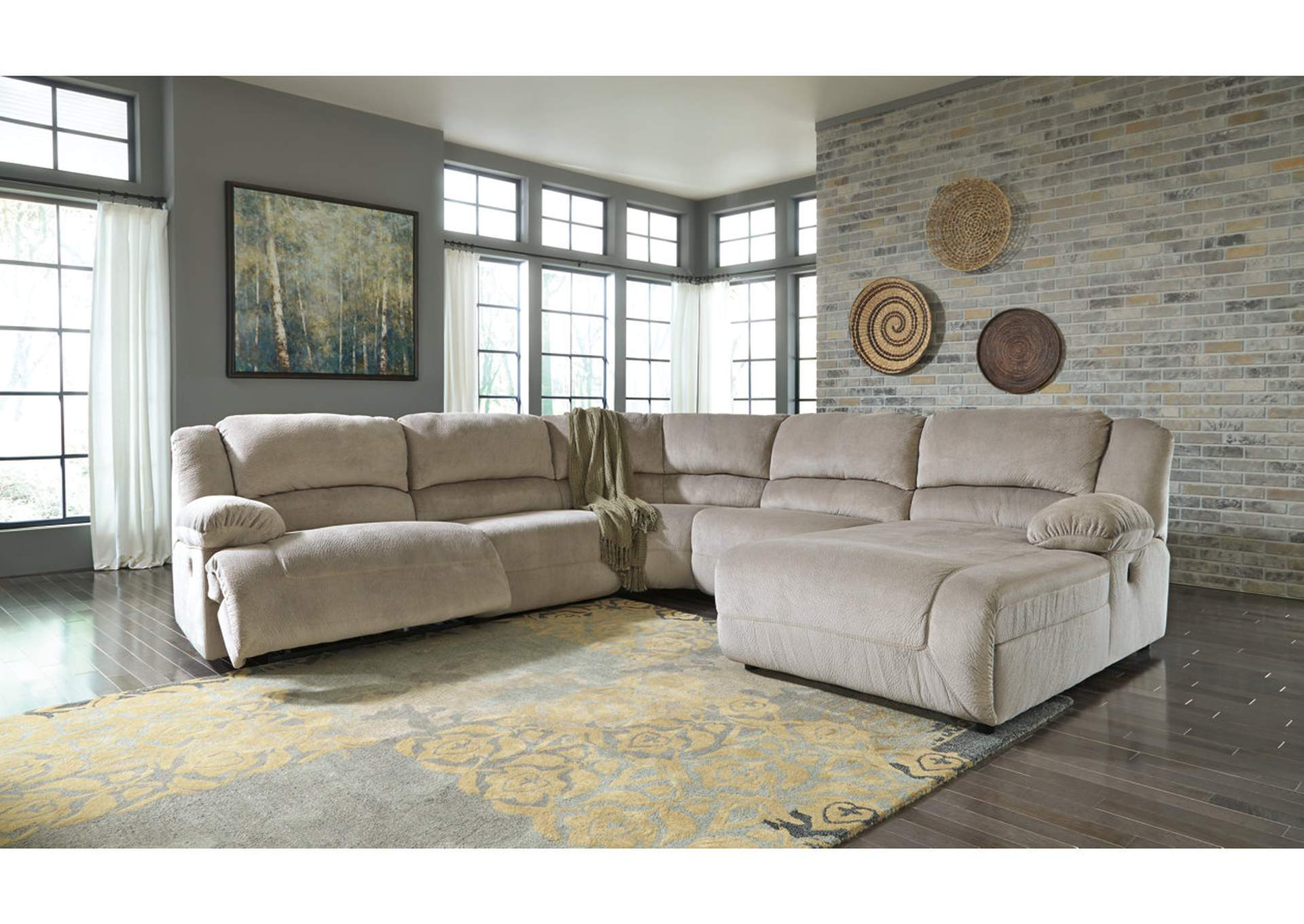 Toletta Granite Zero Wall Reclining Console Sectional w/Right Facing Chaise,Signature Design By Ashley