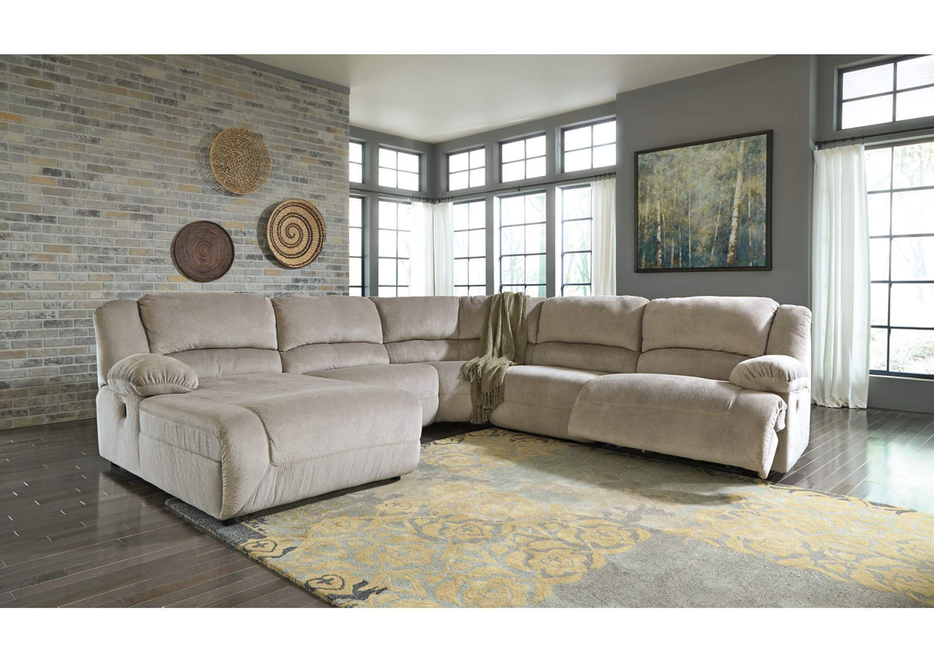 Toletta Granite Zero Wall Reclining Console Sectional W/Left Facing  Chaise,Signature Design By
