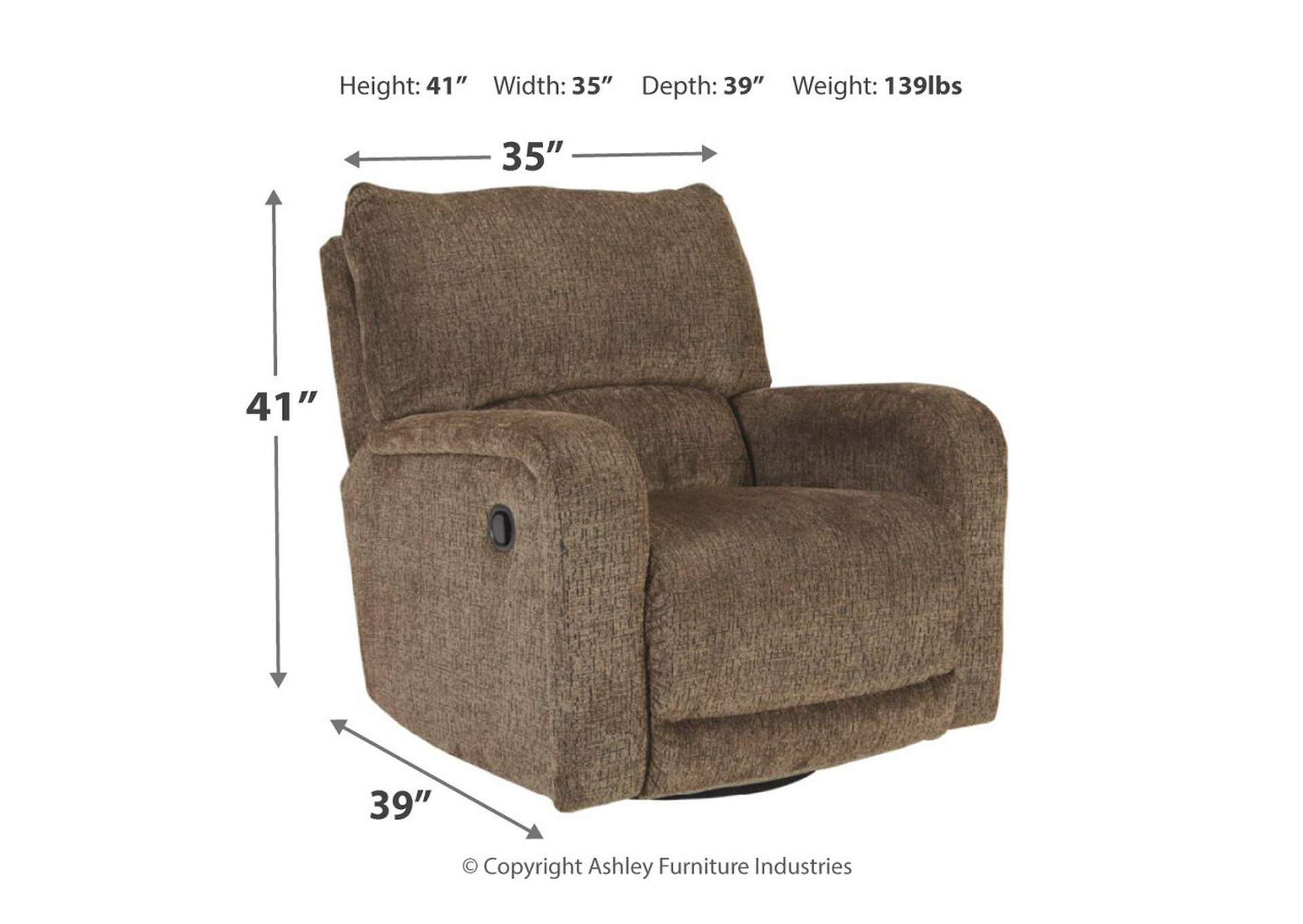 Wittlich Umber Swivel Glider Recliner,Signature Design By Ashley