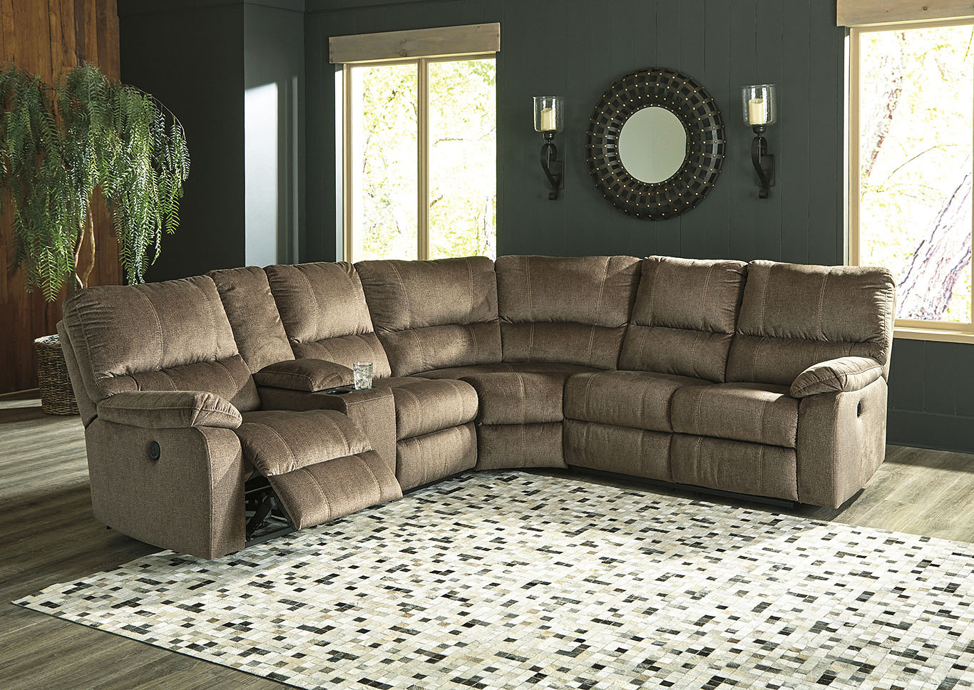 Urbino Mocha Power Reclining Sectional w/Console,Signature Design By Ashley