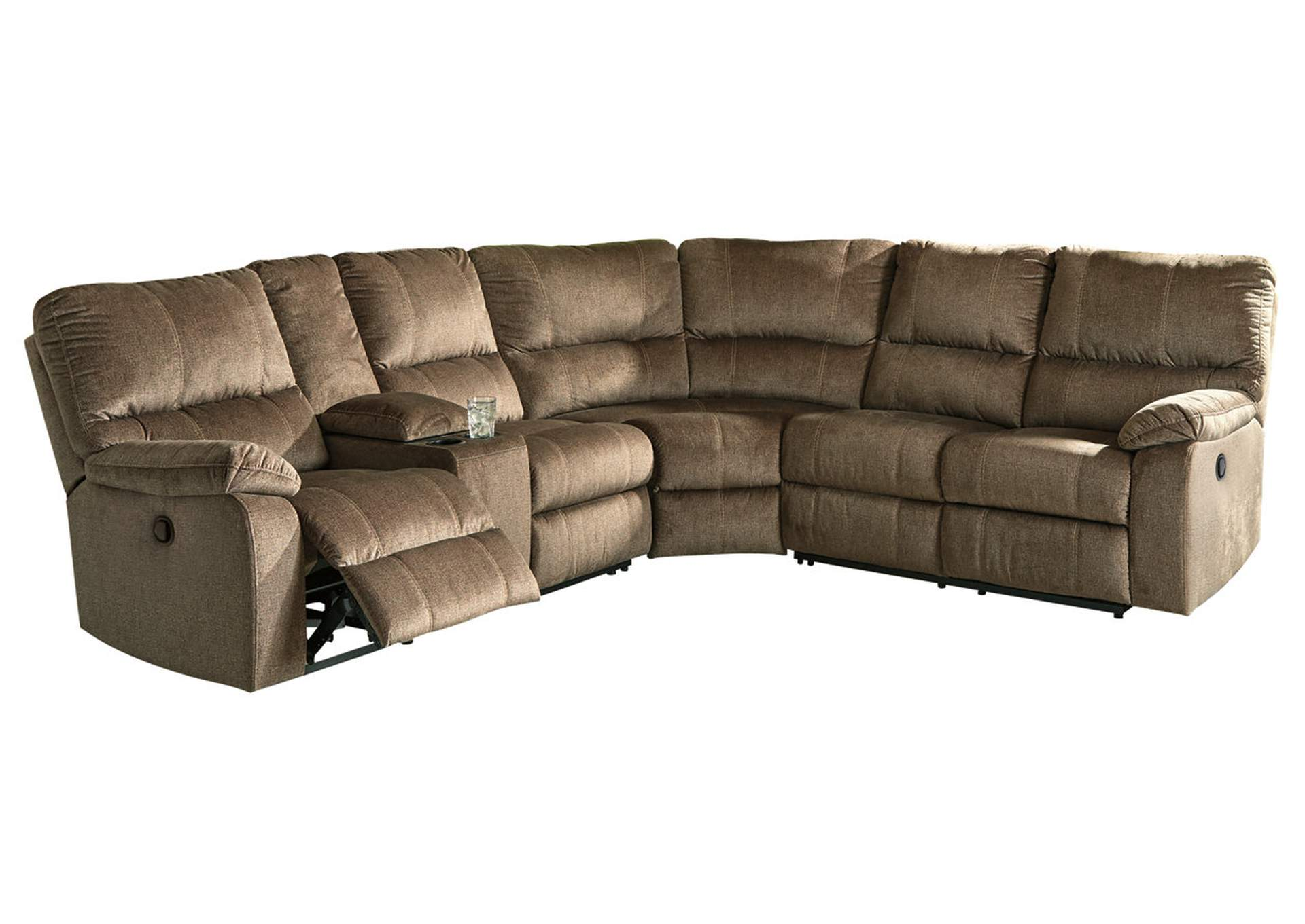 Urbino Mocha Reclining Sectional w/Console,Signature Design By Ashley