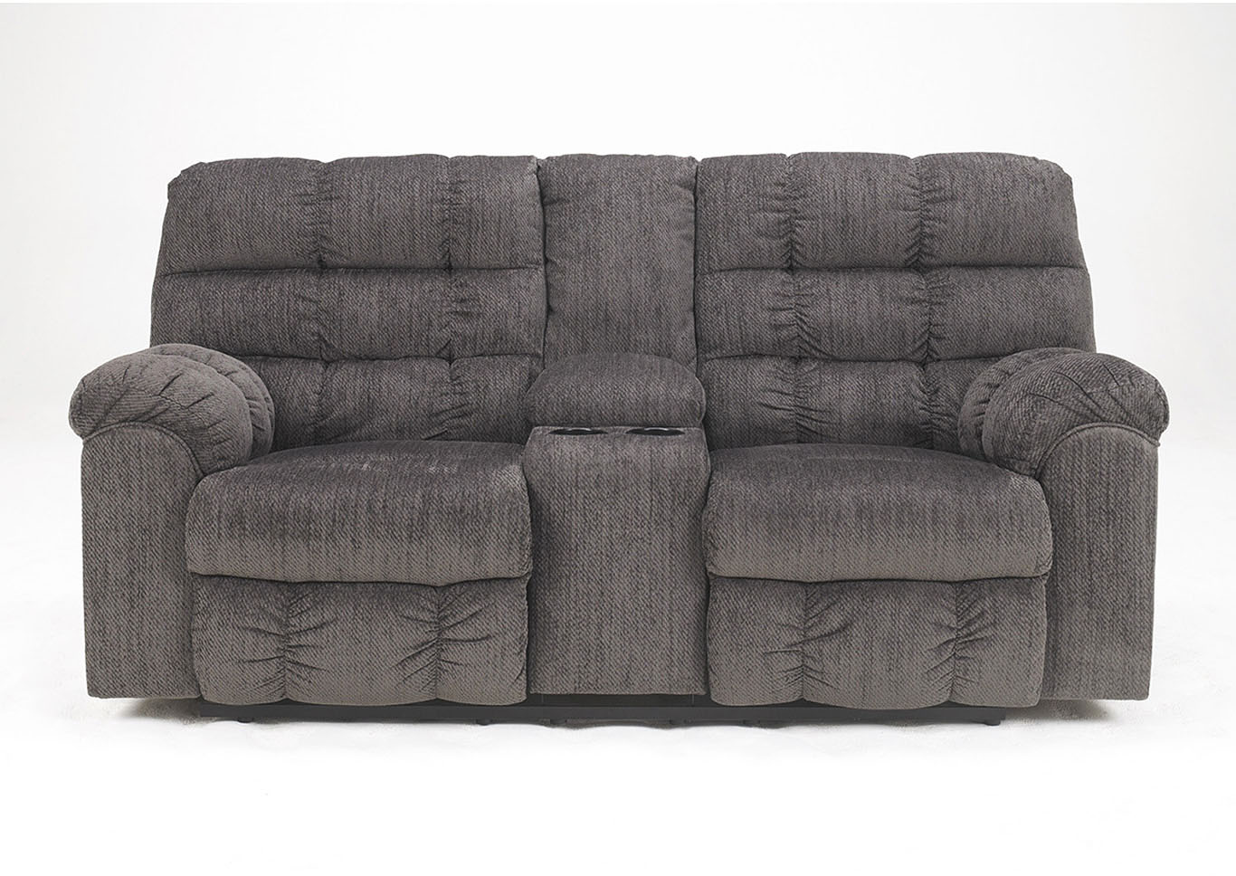 Ivan Smith Acieona Slate Double Reclining Loveseat W Console