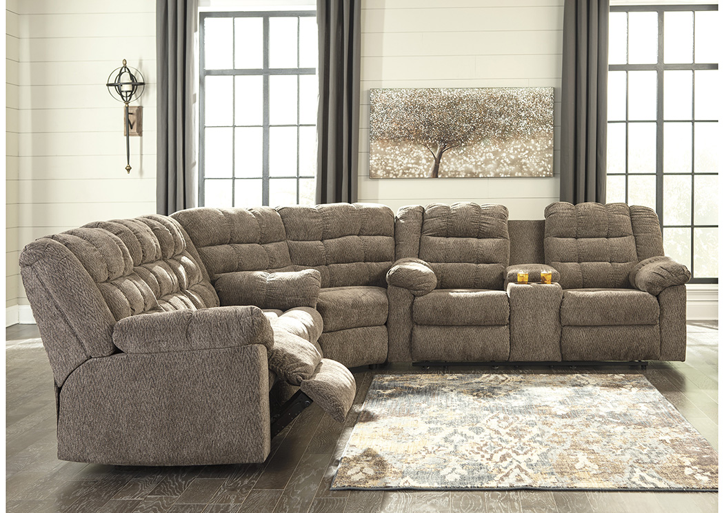 Workhorse Cocoa Reclining Sectional w/Console,Signature Design By Ashley