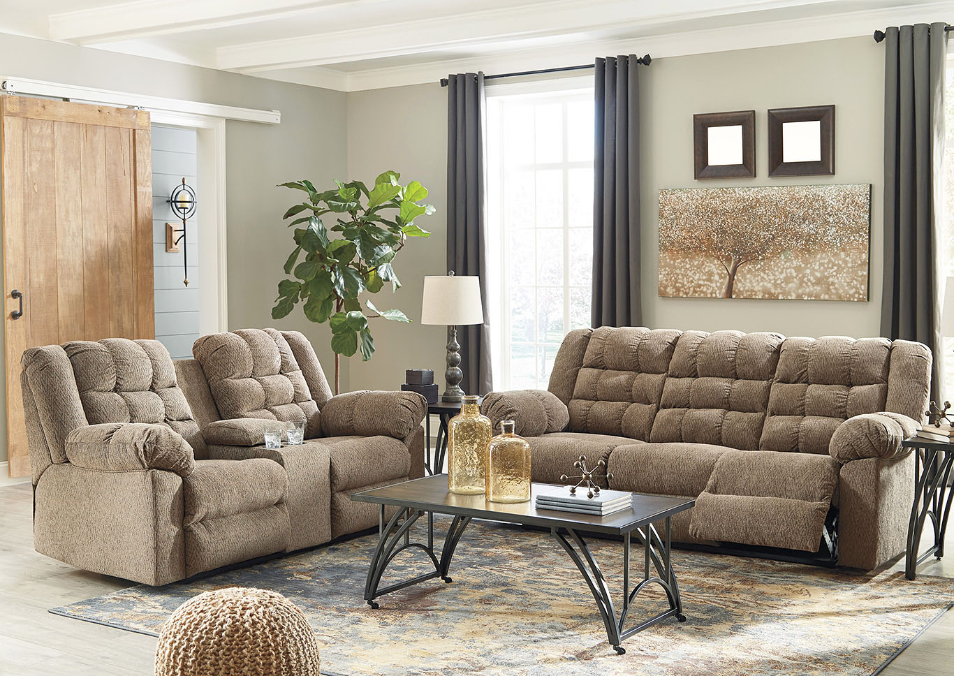 Workhorse Cocoa Reclining Sofa and Loveseat w/Console,Signature Design By Ashley