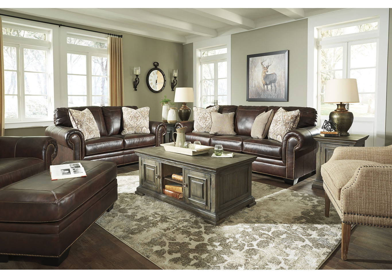 Roleson Walnut Sofa & Loveseat,Signature Design By Ashley