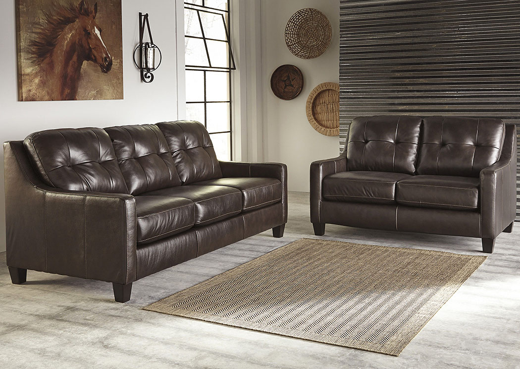 O'Kean Mahogany Sofa & Loveseat,Signature Design By Ashley