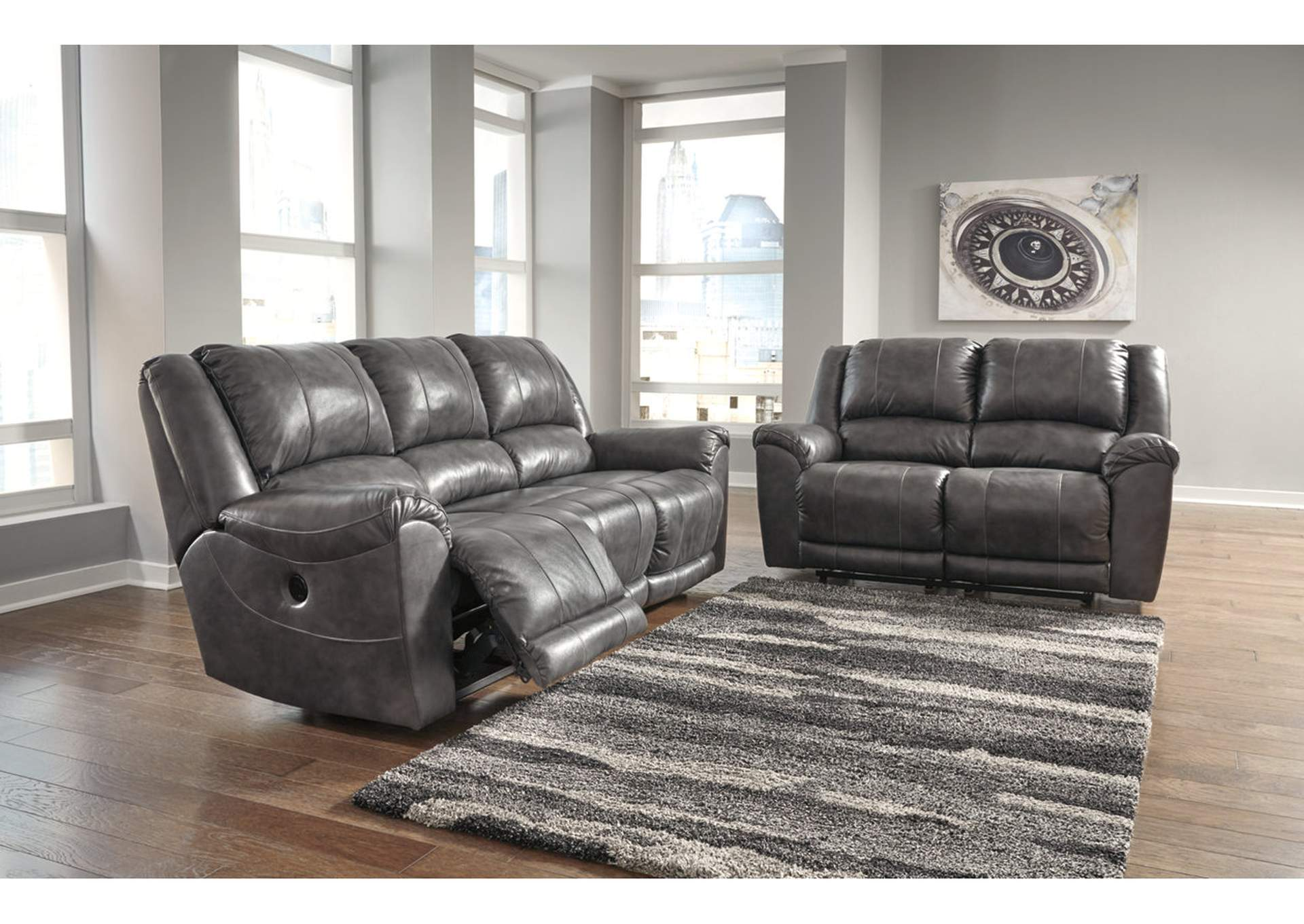 Persiphone Charcoal Power Reclining Sofa and Loveseat,Signature Design By Ashley