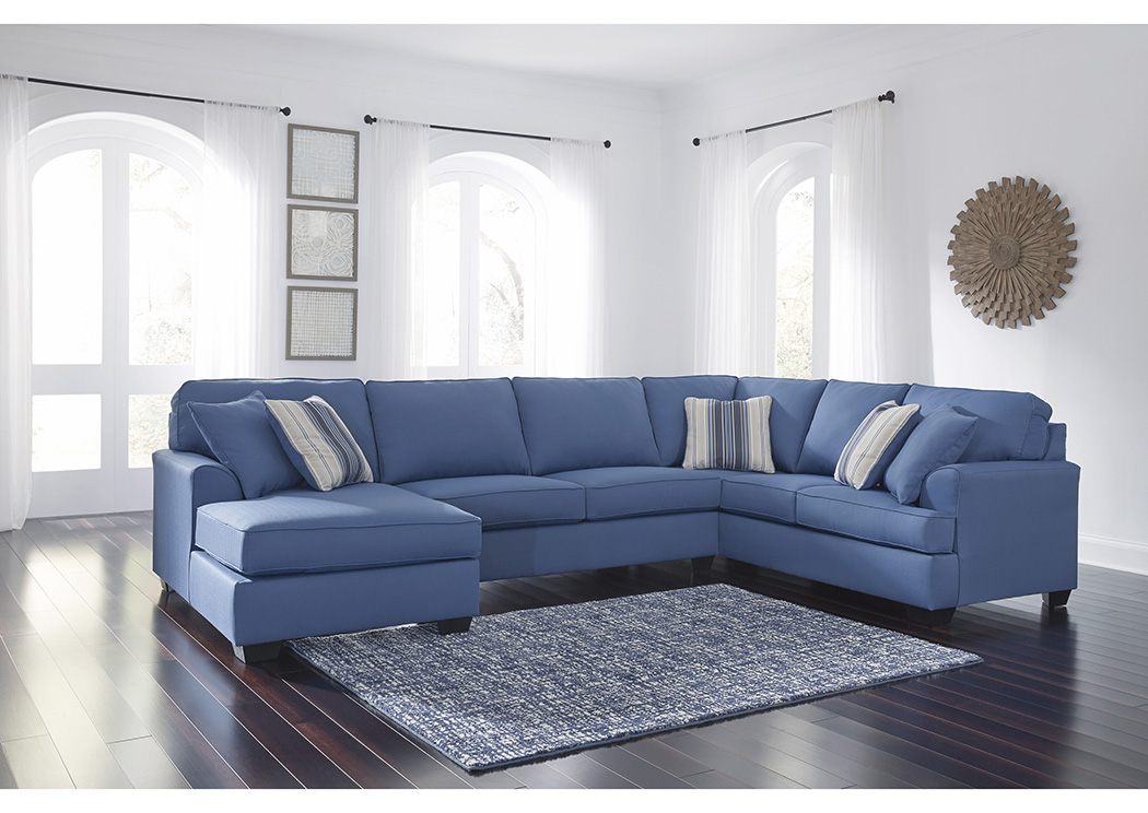 481019 Brioni Nuvella Blue Left Facing Corner Chaise Sofa