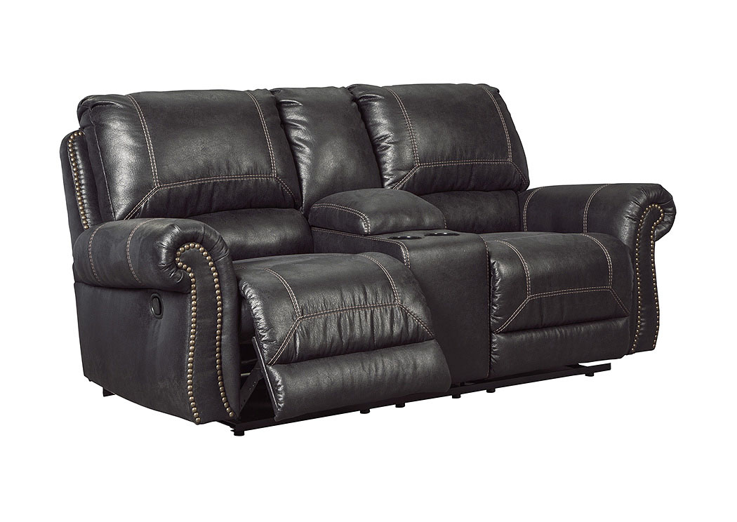 Ivan Smith Milhaven Black Double Recliner Loveseat W Console