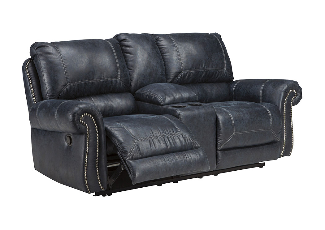 Bedroom Sofa Milhaven Navy Double Reclining Loveseat W Console