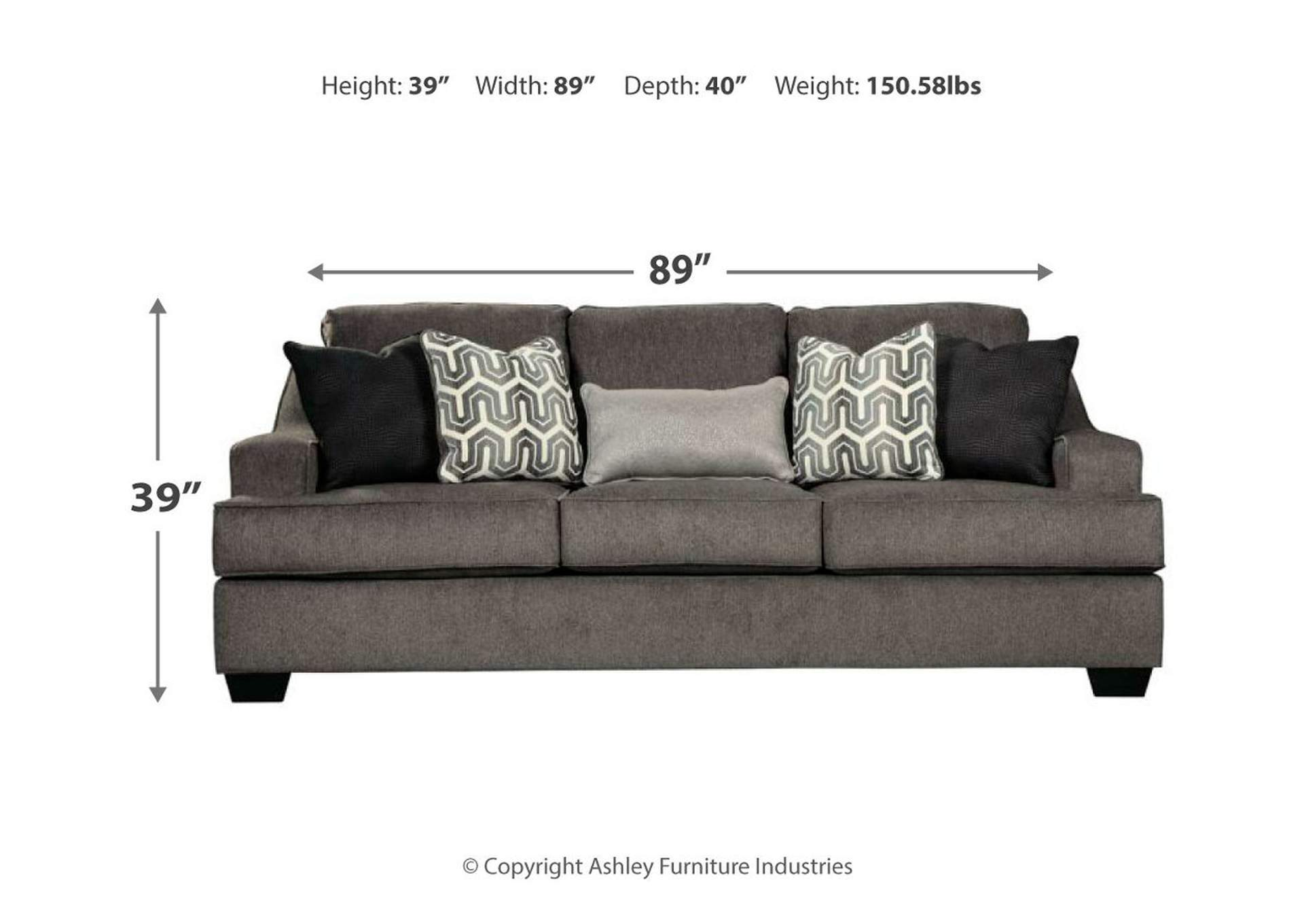 Gilmer Gunmetal Sofa,Signature Design By Ashley
