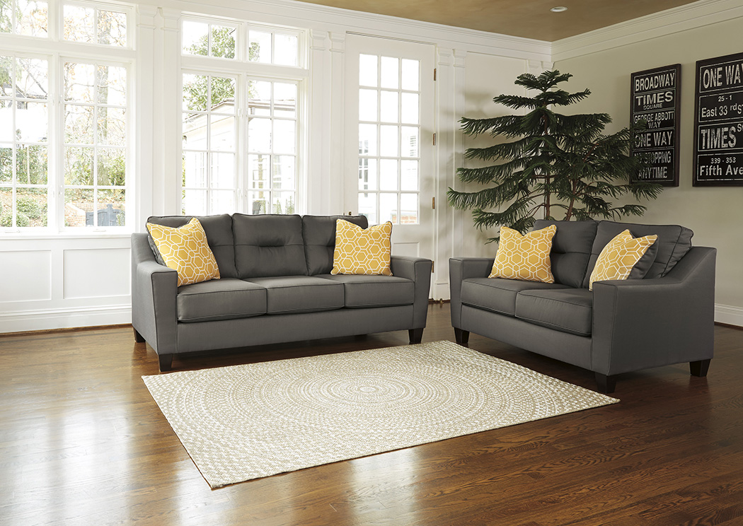 Orleans Furniture Forsan Nuvella Gray Sofa and Loveseat
