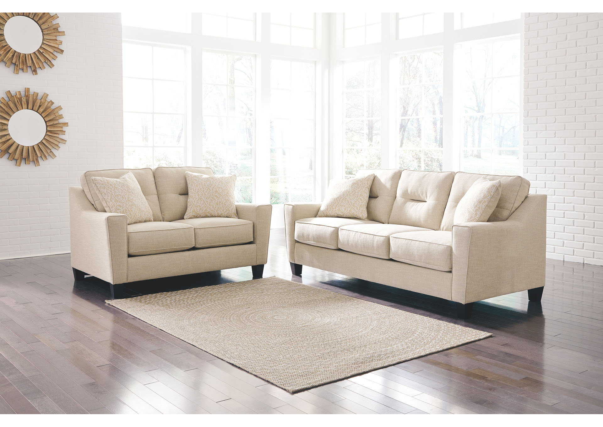 Jesup Furniture Outlet Forsan Nuvella Sand Sofa and Loveseat