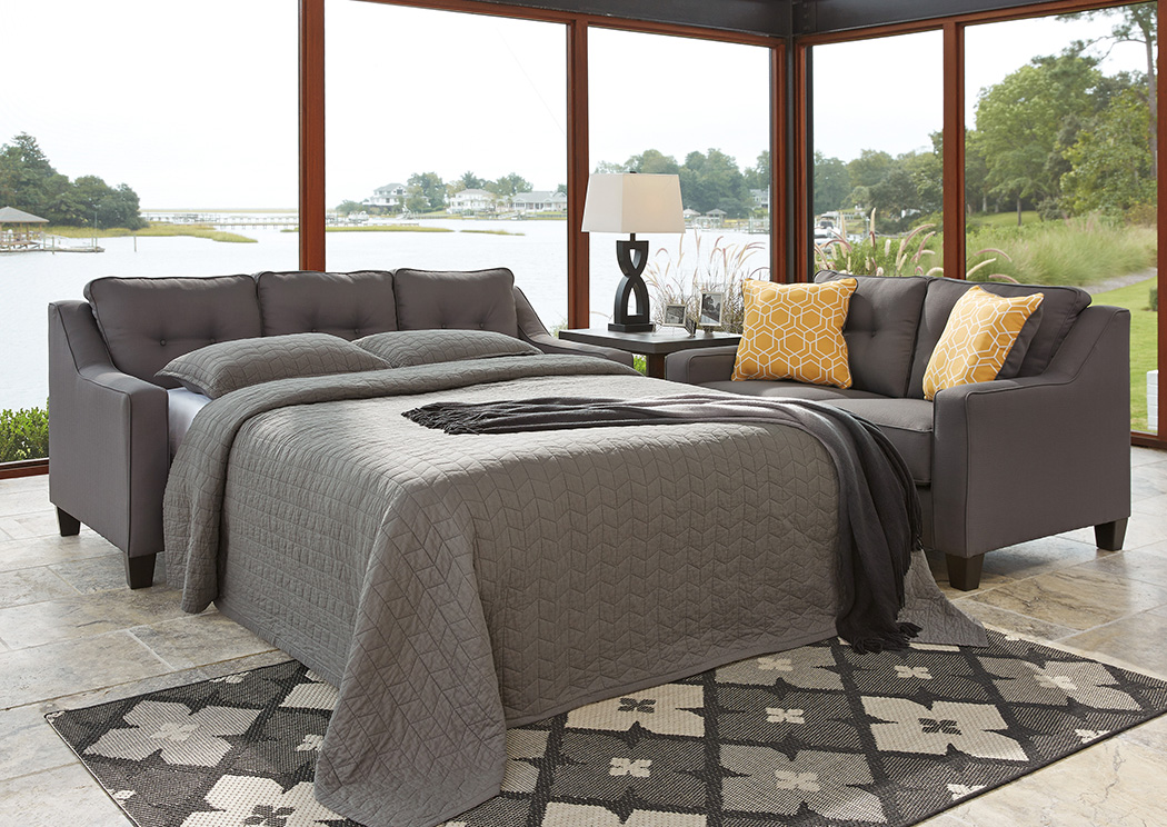 Star Furniture Aldie Nuvella Gray Queen Sofa Chaise Sleeper