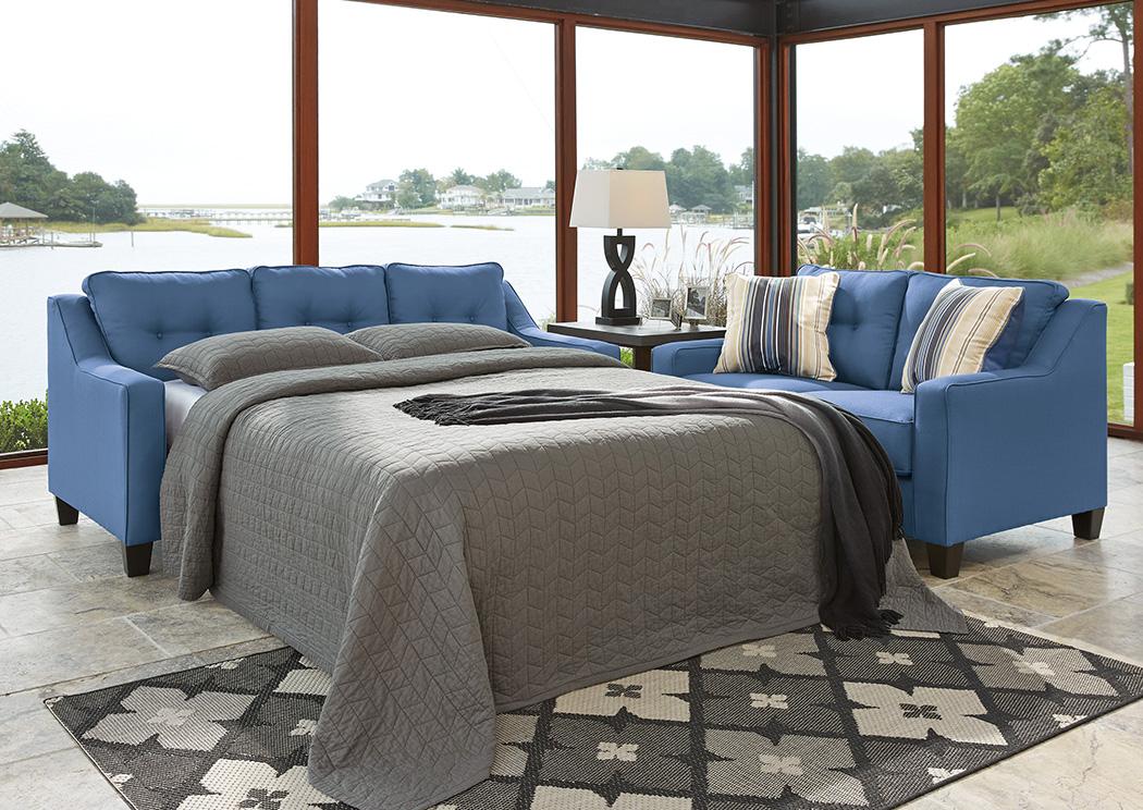 Ivan Smith Aldie Nuvella Blue Queen Sofa Chaise Sleeper
