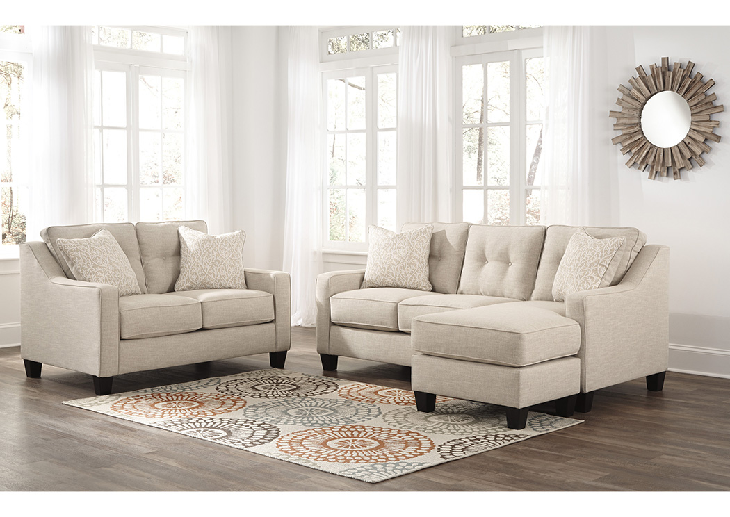 Aldie Nuvella Sand Sofa Chaise and Loveseat,Benchcraft