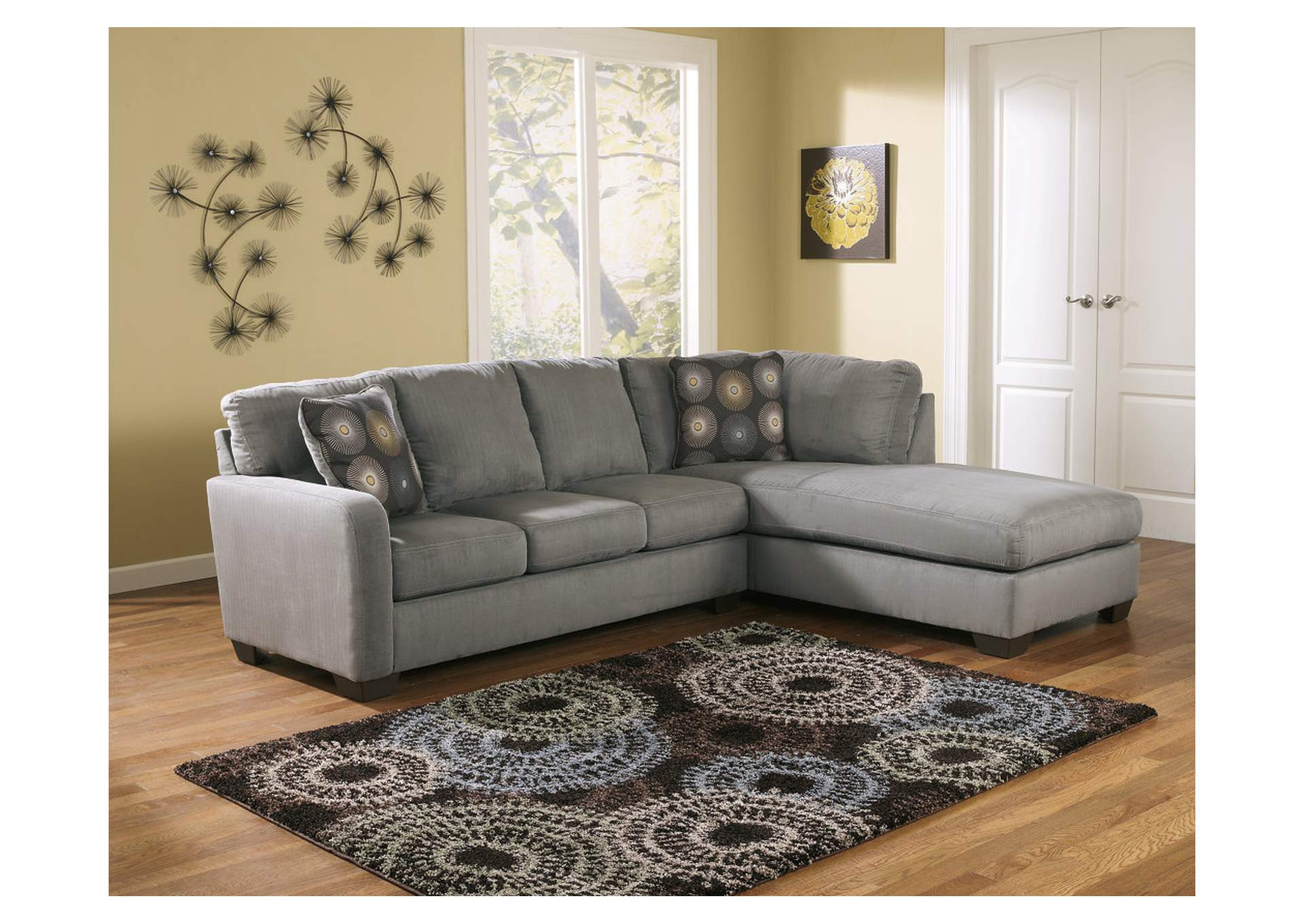 Zella Charcoal Right Facing Chaise Sectional,Signature Design By Ashley