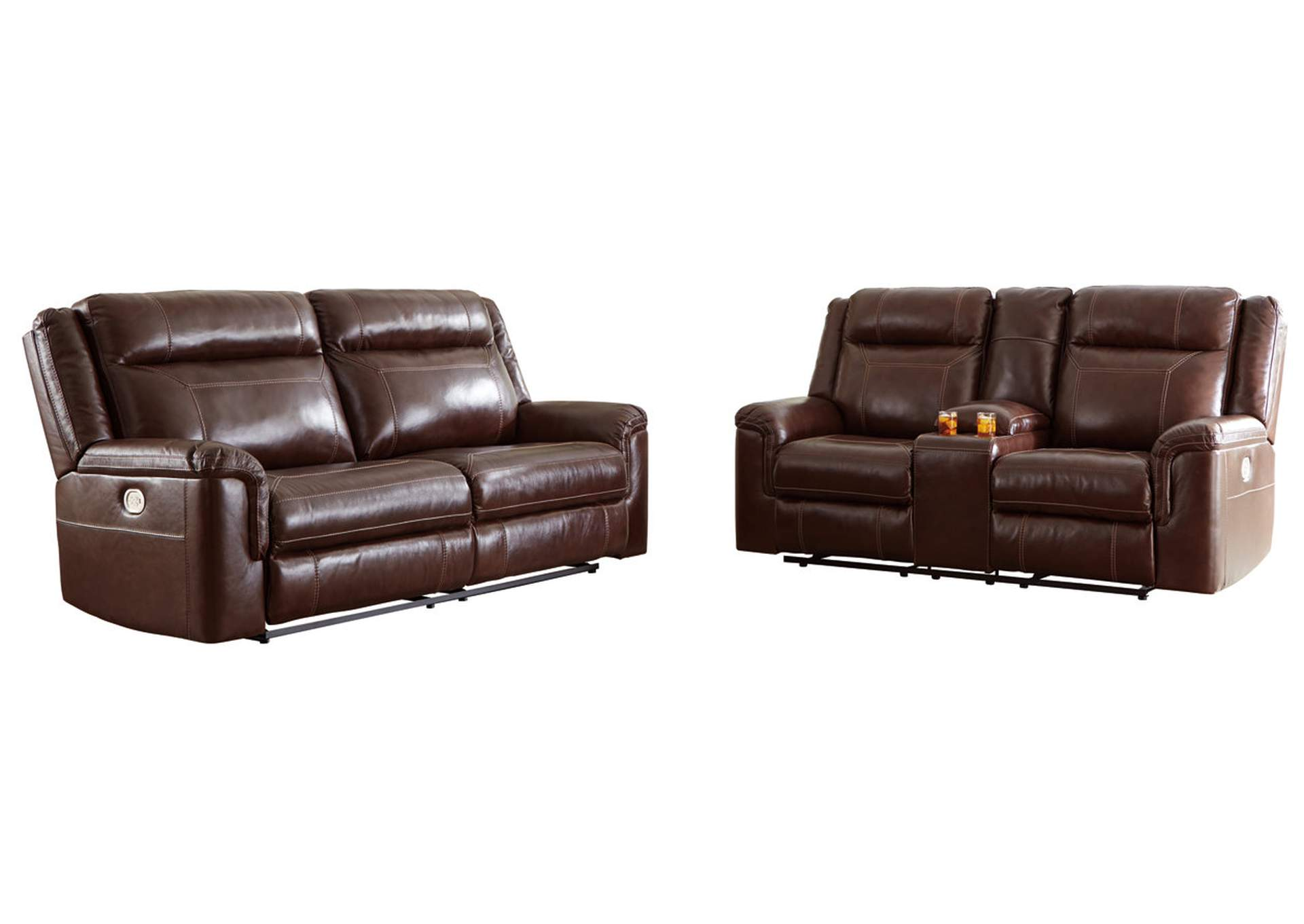 Wyline Coffee Power Reclining Sofa and Loveseat with ADJ Headrest,Signature Design By Ashley