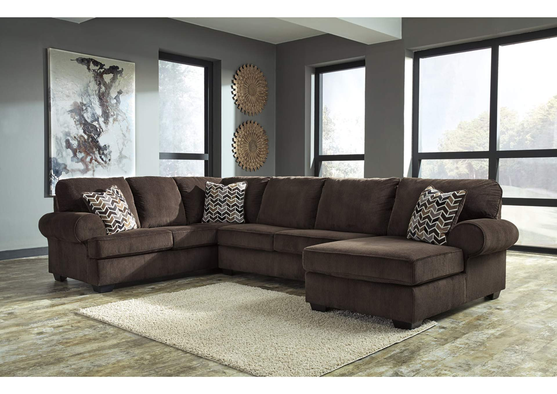 Jinllingsly Chocolate Left Facing Sofa Sectional,Signature Design By Ashley