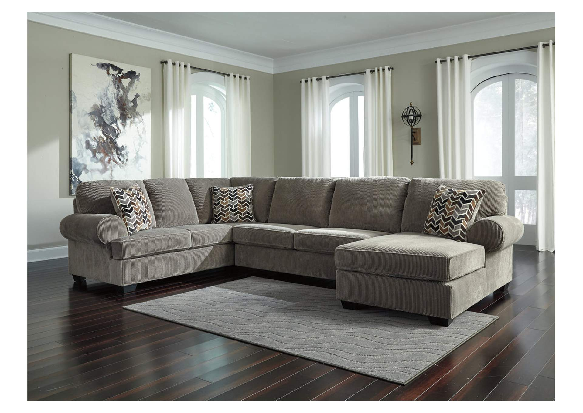 Jinllingsly Gray Left Facing Sofa Sectional,Signature Design By Ashley