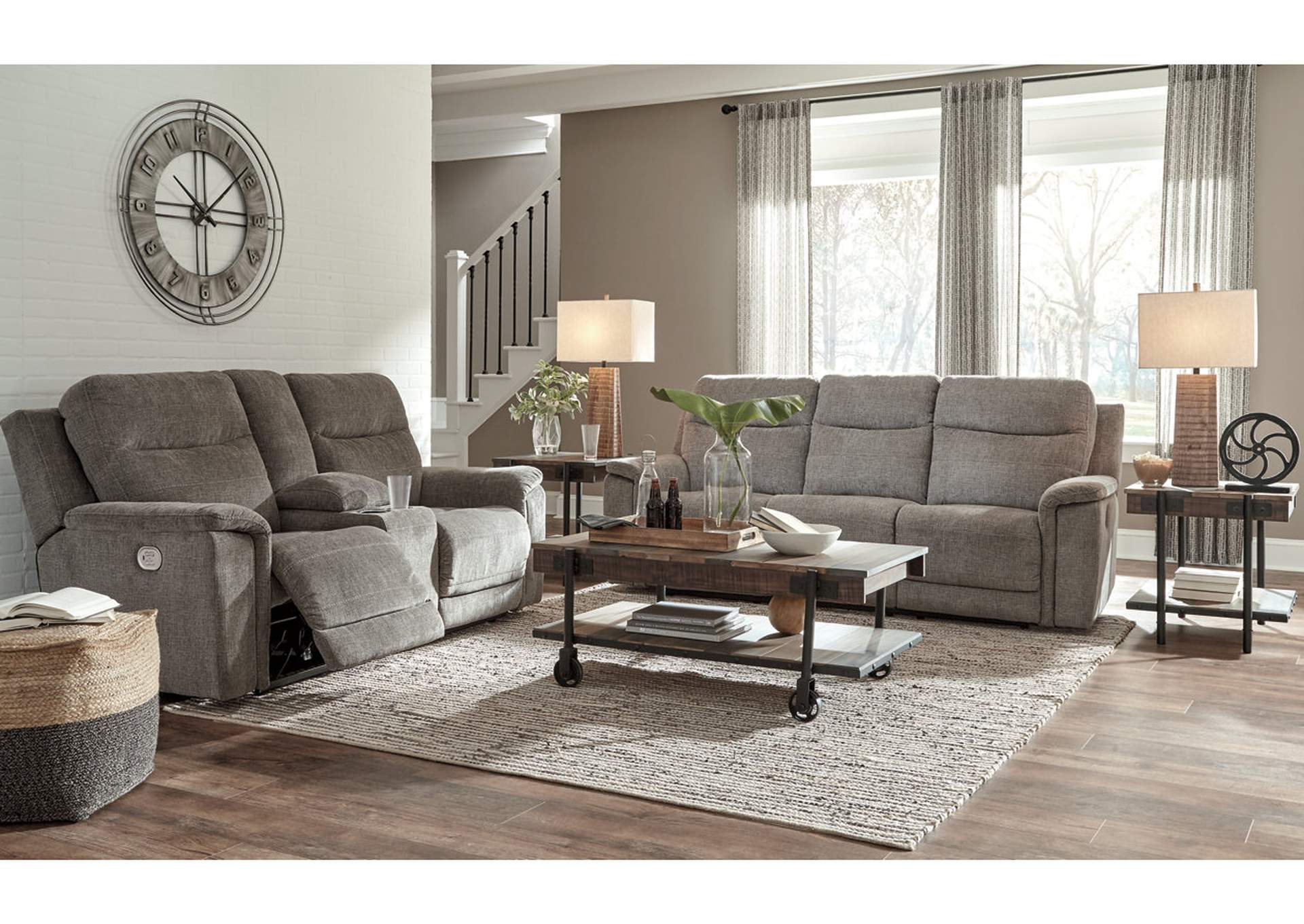 Mouttrie Smoke Power Reclining Sofa and Loveseat w/Console,Signature Design By Ashley