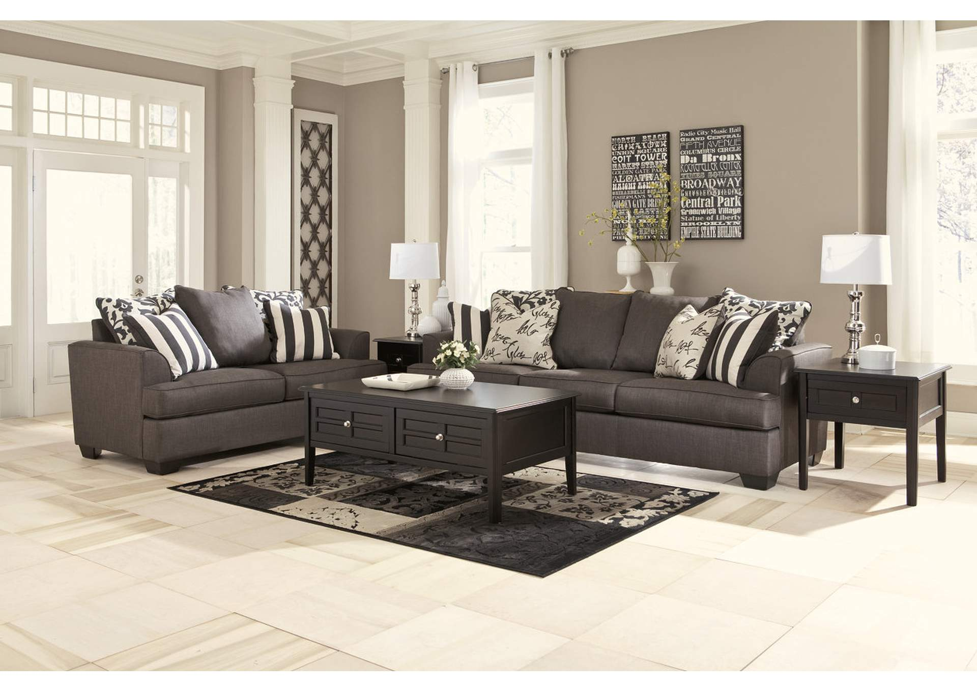 Living Room Levon Charcoal Sofa LoveseatSignature Design By Ashley
