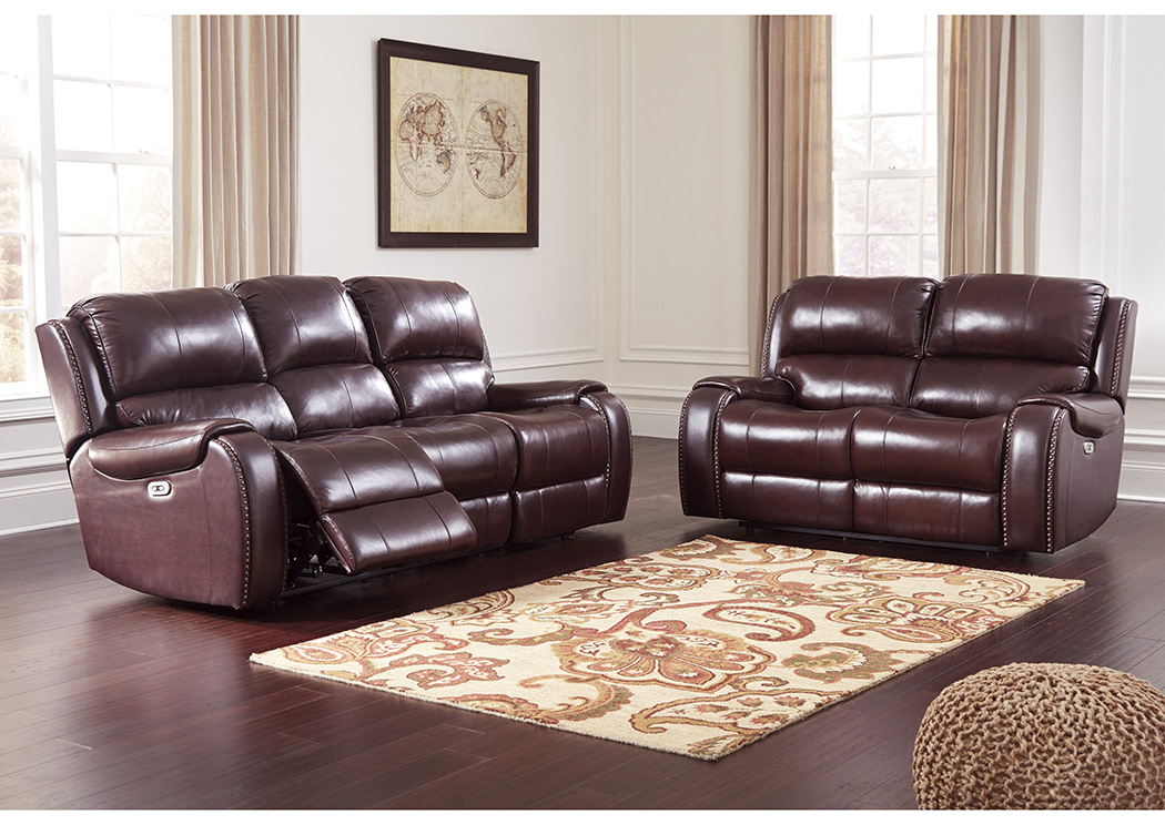 Danto Furniture Gilmanton Burgundy Power Reclining Sofa Loveseat W Adjustable Headrest