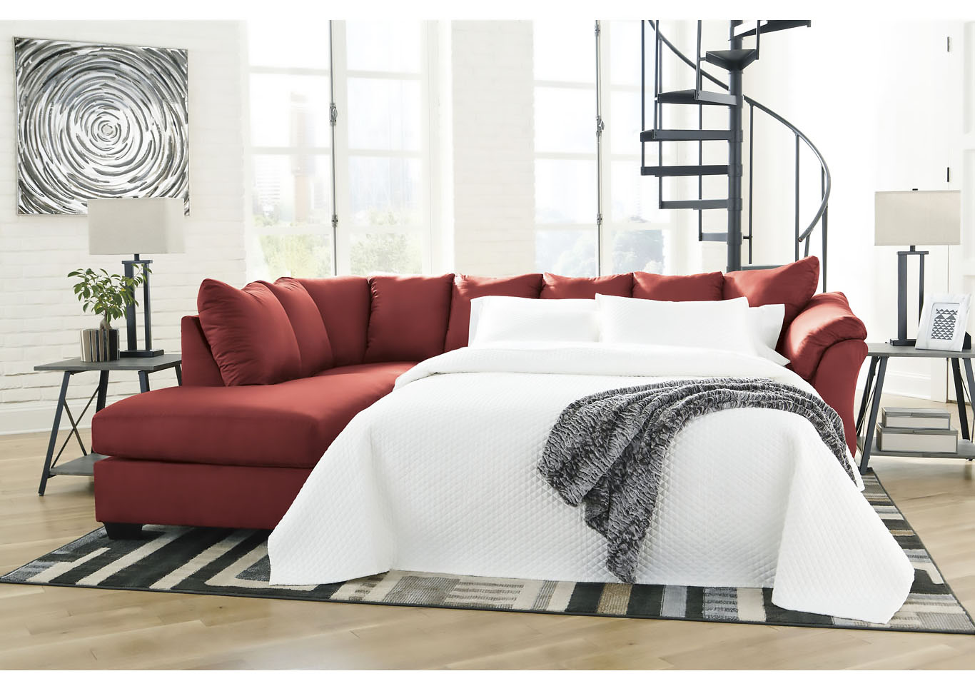 Darcy Salsa Full Sofa Sleeper w/LAF Chaise,Signature Design By Ashley