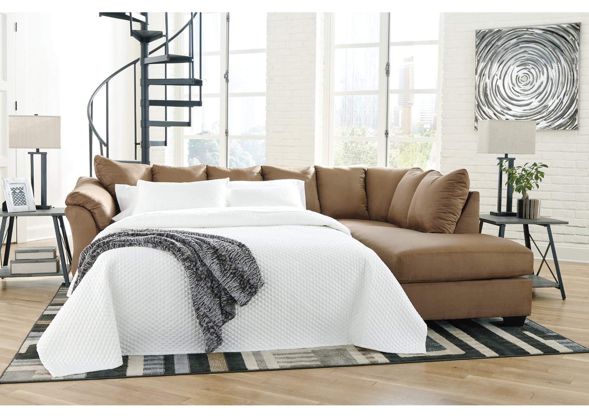 Amazing Curlys Furniture Darcy Mocha Full Sofa Sleeper W Raf Chaise Home Remodeling Inspirations Basidirectenergyitoicom