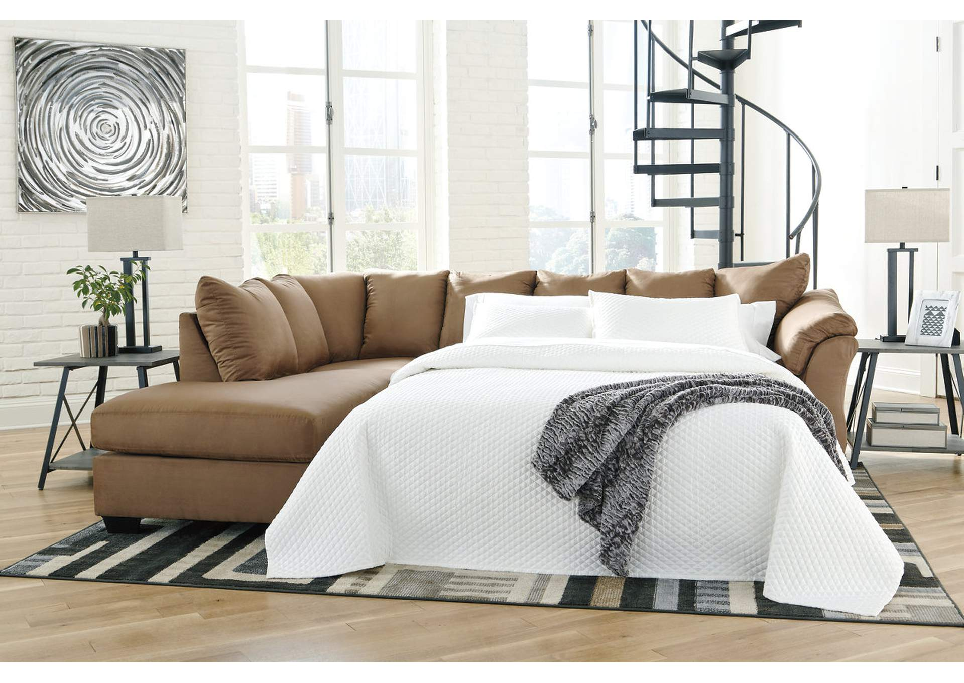 Darcy Mocha Full Sofa Sleeper w/LAF Chaise,Signature Design By Ashley